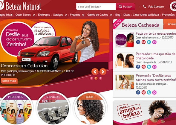 Site Beleza Natural, www.belezanatural.com.br
