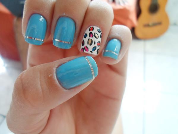 decoracao em unha branca : decoracao em unha branca:Blue Nails
