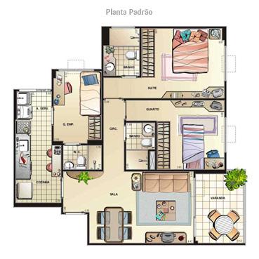 Aqui, uma série de plantas de casas com 3 quartos, uma