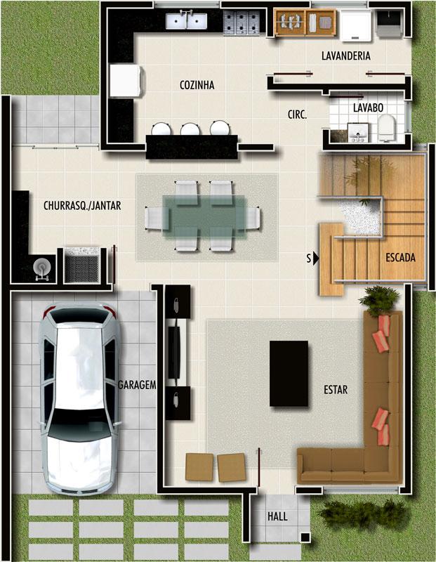 Plantas de casas modernas dicas e modelos for Interiores de casas modernas de una planta